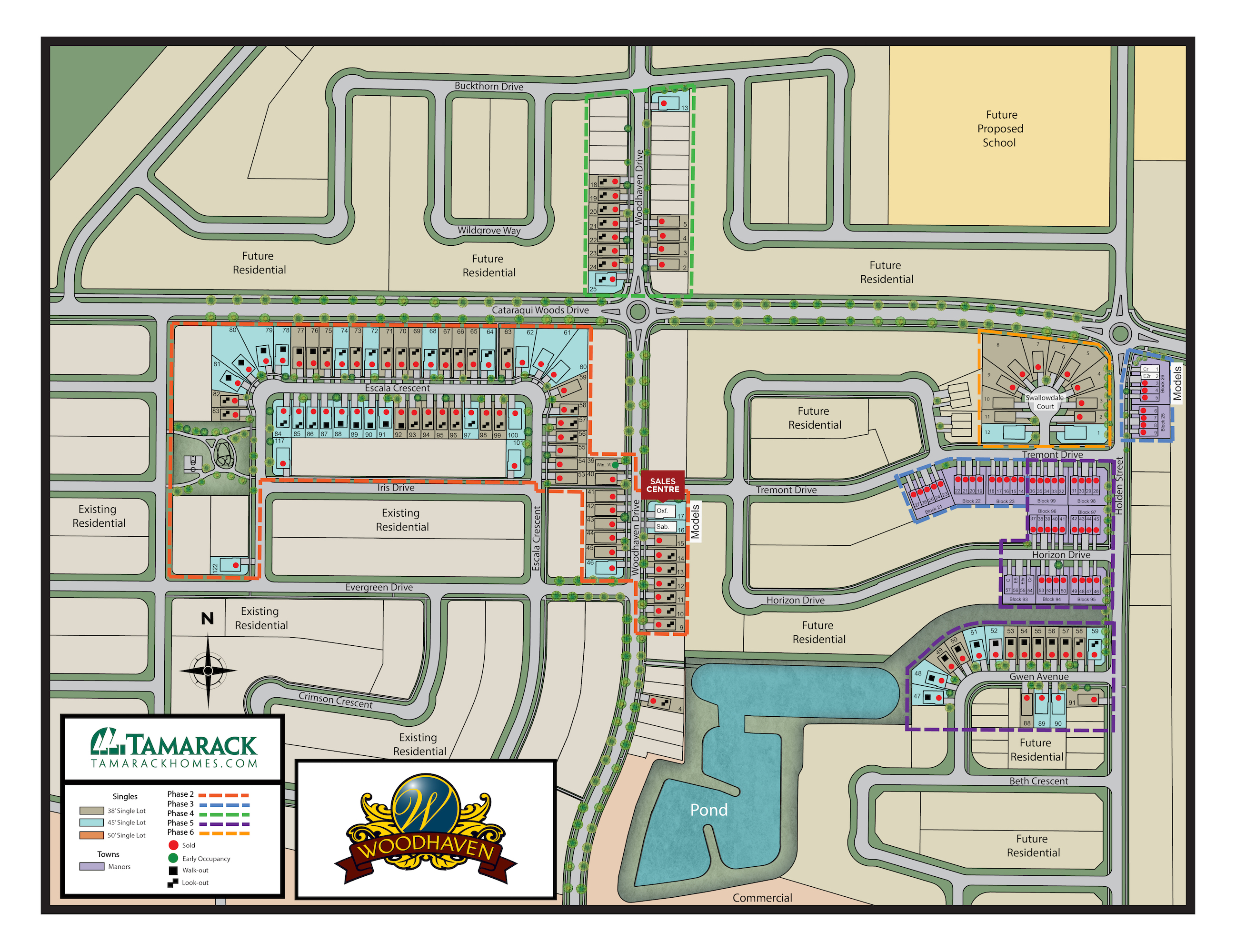 Large full color sitemap of Woodhaven